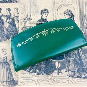 vintage 1950s kiss lock kelly green floral wallet